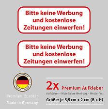 Aufkleber Set - 2x Briefkasten - STOP - Bitte KEINE WERBUNG - Wetterfest