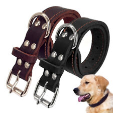 "15""-19"" Genuine Real Leather Dog Collar for Medium Dogs Labrador German Shepherd"