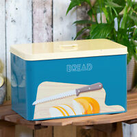 Blue Bread Bin Storage Crock Container Kitchen Decor Worktop Holder Cake Tin