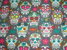 """20""""x12"""" Oblong Cushion Cover Candy Skulls Day of the Dead Mexico Pink Green Grey"""