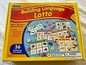 Lakeshore Building Language Lotto Bingo Game 36 Miniatures 6 Cards Homeschool