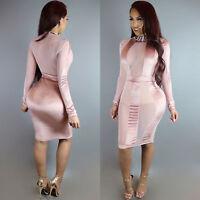 New light pink mesh bodycon midi dress club party wear size UK 10