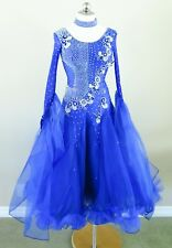 Ballroom Dance Competition Pageant Gown International Standard Blue Small