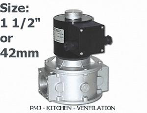 """Gas Solenoid Valve 42mm 1 1/2"""" for Gas Interlock System Shut Off Kitchen Canopy"""