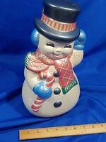 "1977 VTG Ceramic Mold Painted VTG Snowman Large 12"" Xmas Frosty Top Hat"