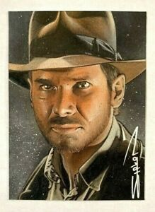 INDIANA JONES SKETCH CARD ACEO RANDY SIPLON PSC - TOPPS MASTERPIECES HERITAGE