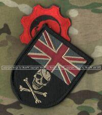 ISAF JSOC BRITISH SAS veIcro 2-PATCH: Camp Bastion UK Flag Skull💀+ Skull Gear
