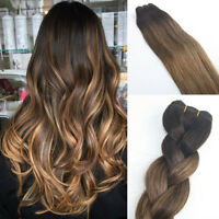 10A RUSSIAN 100g Human Hair Extensions 2#/8# Ash Blonde Balayage Ombre Straight