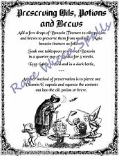 NEW ITEM*Preserve Recipe for Magick Potions 1pg for Wicca Book of Shadows