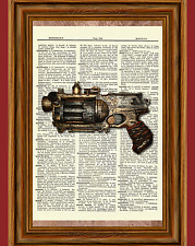 Steampunk Gun Dictionary Art Print Poster Picture Vintage Pistol Revolver Gift