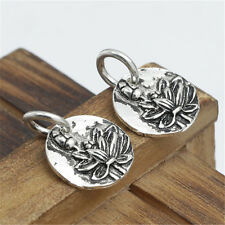 Sterling Silver Lotus Disc Tag Charms for Bracelet Necklace Yoga Meditation