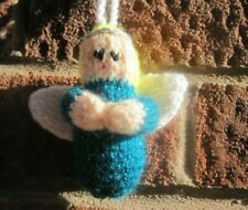 HAND KNITTED TEAL ANGEL TREE  DECORATION. 4 INCHES TALL.