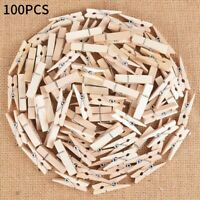 100 pcs Mini Small Wooden Craft Pegs Clothes Paper Photo Hanging Spring Clip