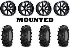 Kit 4 ITP Cryptid Tires 30x10-14 on MSA M12 Diesel Black Wheels POL