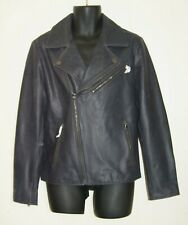 KENNETH COLE Indigo Blue Genuine Leather Jacket MOTO Mens Size M DISTRESSED New