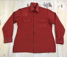 Jcpenney - Vtg 60s-70s Burnt Orange Velour Button-up Hippie Shirt, Mens Large