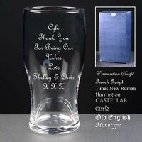 Personalised Tulip Pint Glass, Wedding Favour, Usher Gift