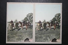 FOX HUNTING  1930's Camerascope Coloured Stereoscopic Photocard