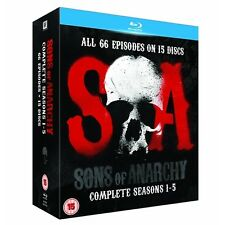 "SONS OF ANARCHY COMPLETE SEASON 1-5 BOX SET 15 DISCS BLU-RAY RB ""NEW&SEALED"""
