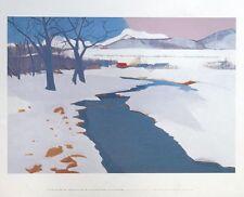 Stream uder the snow, Ban-Shindo print -59x48cm, snow wall art, shindo painting