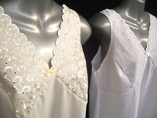 100%COTTON EMBROIDERED BUSTFull Slip/Petticoat FREE POSTAGE UK ONLY(WHITE&CREAM)