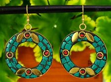 Nepal Fashion Banjara Turquoise Brass Tibetan Designer Jewelry Earrings BTE704