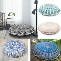 82 Cm Indian Fouff Cover Mandala Floor Pillow Round Meditation Cushion Cover