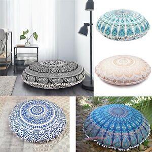 82 Cm Indian Fouff Cover Mandala Floor Pillow Round Meditation Cushion Cover