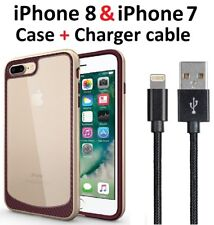 Gold case cover for iPhone 8 iPhone 7 + Charger Charging Cord Cable 3f