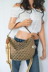 Michael Kors Bedford M Jacquard Leather Convertible Shoulder Bag MK Beige Brown