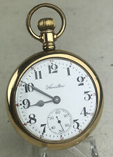 HAMILTON 974 - 17J 16S Model 2 Openface Pocket Watch Running - Nice Watch!
