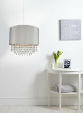 Modern EasyFit Drum Shade Silver Fabric Ceiling Pendant Light Bedroom Chandelier