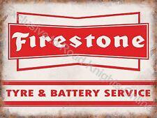 Vintage Garage Firestone Tyre & Battery Service Motor Car, Small Metal Tin Sign