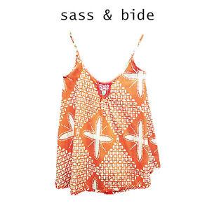 """Sass & Bide """"ALL THAT TALK"""" Sherbet & white cotton swing top - Sz 36/US 0"""