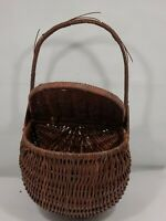 "Vintage Woven Wicker Lidded Wall/Hanger/Free Standing Pocket Basket ""Boho"" Decor"