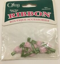Offray Boutique Ribbon Accessories Sheer Rose 8pc Polyester Pink