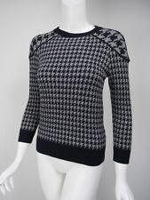 J CREW Tippi Navy Gray Houndstooth Merino Wool Crewneck Sweater sz S