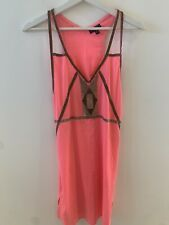 NEON PINK BEADED DRESS SMALL TOPSHOP OPEN STRAPPY BEACH PARTY MARBS SUN PRETTY