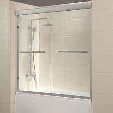 "60"" Framed 1/4"" Clear Glass 2 Sliding Bath Shower Door Brushed Nickel Finish"