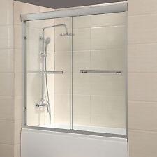 """60"""" Framed 1/4"""" Clear Glass 2 Sliding Bath Shower Door Brushed Nickel Finish"""