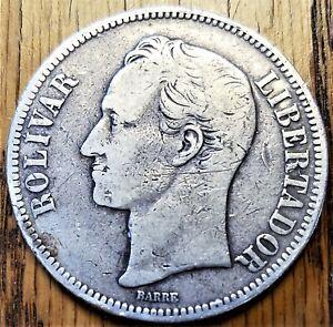 1886 Venezuela 5 Bolivares Very Fine Silver Coin (b)