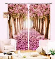 3D Pink flower5 Blockout Photo Curtain Printing Curtains Drapes Fabric Window AU