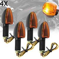 4PCS Spear Black Bulb Indicators Front & Rear Motorbike Motorcycle (Amber Lens)