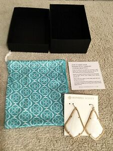 KENDRA SCOTT White Mother Of Pearl In Gold-Tone Trim. NEW.