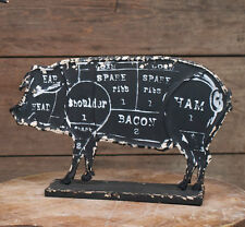 New Primitive Country Farmhouse Chic Rustic STANDING PIG Butcher's Chart Sign