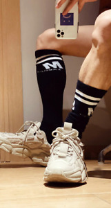 Mens Black Ribbed Stripe Calf Length Synthetic Football Socks Fetish Gay UK