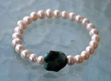 Earthy Fresh Water Pearl Turquoise Wrist Mala Beads Healing Bracelet - Blessed M