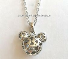 "Silver Mickey Mouse Ears Necklace Crystal Disney 19""  Plated Pendant Hidden USA"