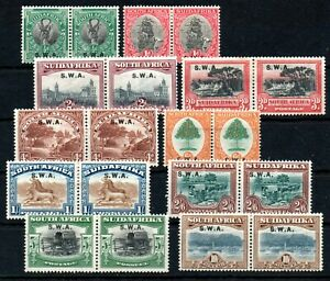 SOUTH WEST AFRICA , 1927/ 30 , scarce long set up to 10 SHILLINGS , PAIRS !! MH