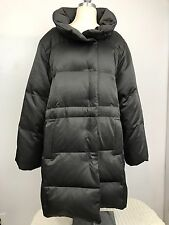 J. Jill Gray Charcoal Quilted Puffer Down Jacket Coat Trench Stadium Jacket